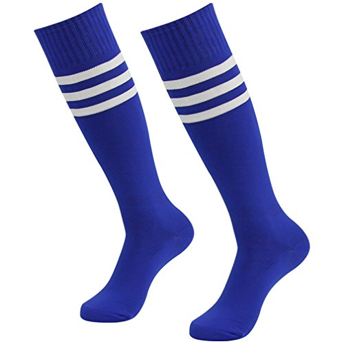 Fasoar Men's Women's Breathable Knee High Socks,Bright Colors with White Stripes Pack of 2 Blue ()