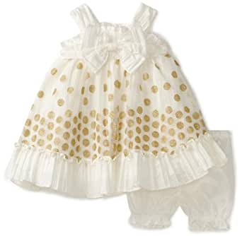 Nannette Baby Girls' Taffeta Dress with Embroidery Overlay, Cream, 24 Months