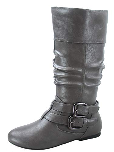 FZ-Sonny-54 Women's Stylish Round Toe Buckle Zipper Slouchy Mid-Calf Riding Boots Shoes (10 B(M) US, Grey)