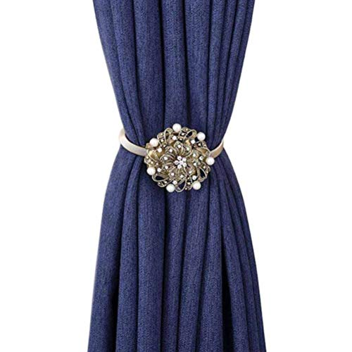 YING CHIC YYC 1Pair Flower Magnetic Curtain Tieback Pearl Crystal Curtain Buckle Clips Curtain Bind Drapery Holder (Bronze)