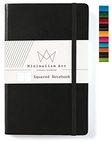 Minimalism Art | Classic Notebook Journal, Size: 5 X 8.3, A5, Black, Squared Grid Page, 192 Pages, Hard Cover/Fine PU Leather, Inner Pocket, Quality Paper - 100gsm | Designed in San Francisco