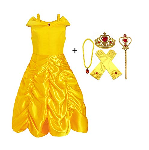 ALEAD Princess Costume Belle Dress and Accessories Gloves, Tiara, Wand and Necklace (6-7) Yellow Red -
