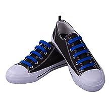 Premium Blue No-Tie Silicone Shoe Laces - One Size Fits All - 20 Piece Bundle Pack