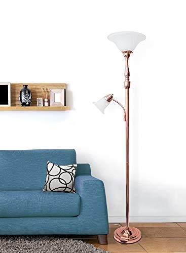 Elegant Designs LF2003-RGD 2 Light Mother Daughter White Marble Glass Floor Lamp, Rose Gold