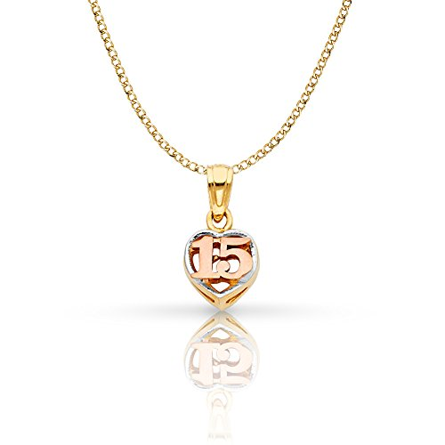 Ioka Jewelry - 14K Tri Color Gold Sweet 15 Years Quinceanera Heart Charm Pendant with 2mm Hollow Cuban Bevel Chain Necklace - 16