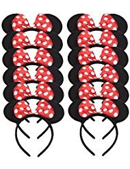 - Set of 12 Mickey Minnie Mouse Costume Deluxe Fabric Ears Headband White Polka Dots Bow Boys Girls Birthday Party Hairs Accessories Baby Shower Headwear Halloween Party Favors Decorations (Red)