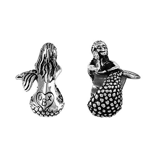 OBX - Outer Banks, NC - Mermaid - Handmade Sterling Silver Large Hole Charm Bead by Lone Palm Jewelry