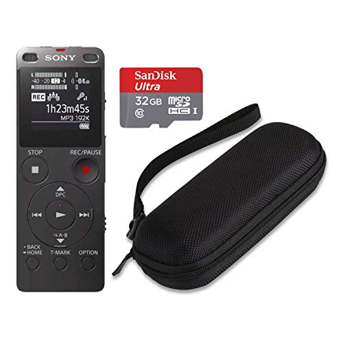 Sony ICDUX560BLK Stereo Digital Voice Recorder with Built-in USB with 32GB microSD and Hard Carrying case