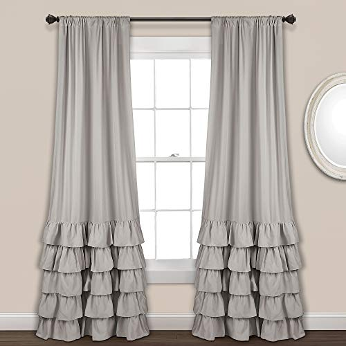 Lush Decor Allison Ruffle Curtains Window Panel Drapes Set for Living, Dining Room, Bedroom (Pair), 84