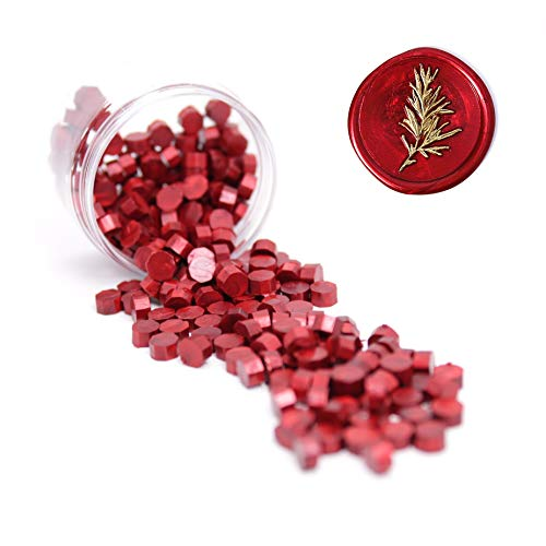 (UNIQOOO Arts & Crafts 180 Pcs Metallic Burgundy Wine Red Bottle Sealing Wax Beads Nuggets for Wax Seal Stamp, Great for Embellishment of Cards Envelopes, Wedding Invitations, Wine Packages, Gift)