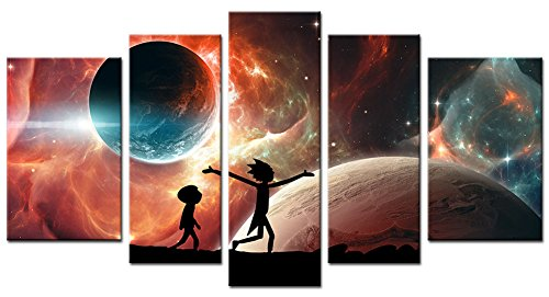 33wallart Modern Wall Art Canvas Print Decor Large 5 Piece Abstract Red Star Fantasy Landscape Picture Framed Artwork Ready to Hang for Living Room Home