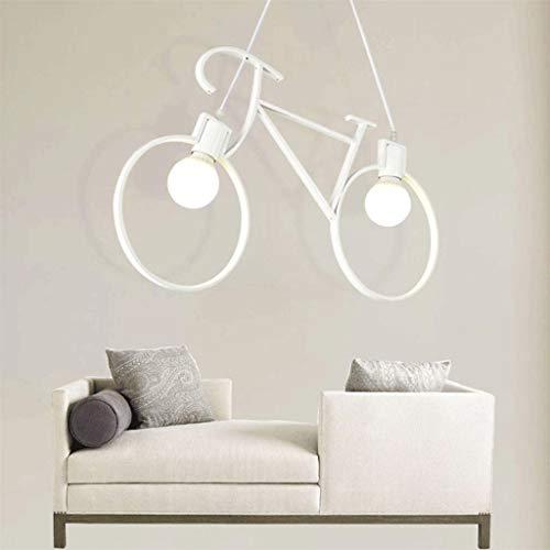 Lampara de arana de metal industrial vintage Forma de bicicleta, luces colgantes de isla de cocina, luz de techo rustica, bar Cafe Restaurante Decoracion Luminaria colgante blanco