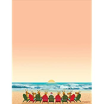 amazon com beach holiday stationery 8 5 x 11 60 christmas beach