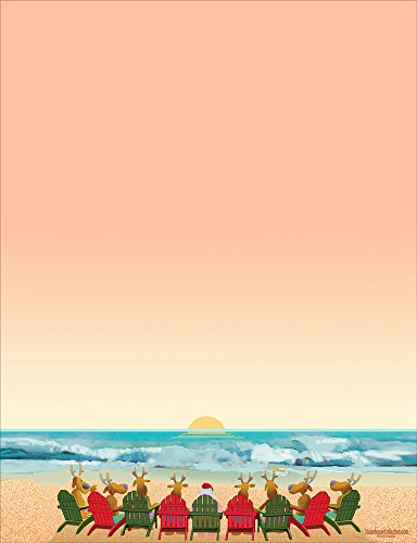Beach Holiday Stationery - 8.5 x 11-60 Christmas Beach Letterhead Sheets (Beach)