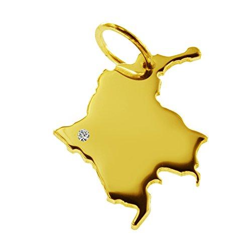 PENDENTIF cOLOMBIE avec un brillant 0,015ct sur votre wunschort en or jaune 585