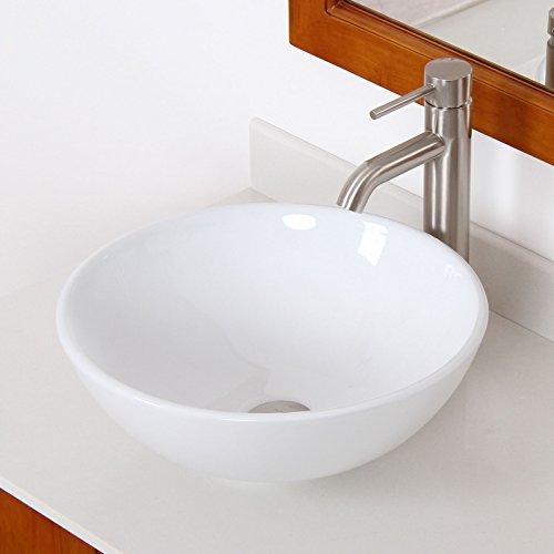 ELITE Bathroom Round White Ceramic Porcelain Vessel Sink & Brushed Nickel Single Lever Faucet Combo
