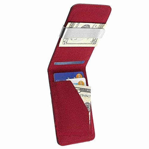 Wallet Mens Genuine Leather Silver Money Clip Slim Wallets Black ID Credit Card Holder-Black Red