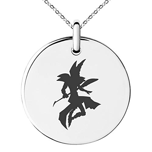 - Tioneer Yu-Gi-Oh! Dark Magician Silhouette Stainless Steel Small Medallion Circle Charm Pendant Necklace