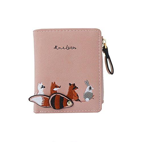 Hosamtel Women Girl Leather Wallet Cute Animal Coin Purse Card Holder Case -