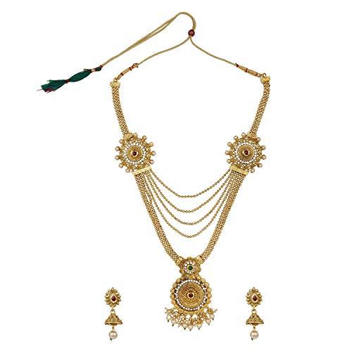 Efulgenz Indian Bollywood Multi Layered Traditional 14 K Gold Plated Crystal Kundan Beaded Wedding Temple Choker Necklace Earrings Jewelry Set