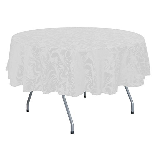 Ultimate Textile (5 Pack) Damask Melrose 60 x 120 Inch Oval Tablecloth - Home Dining Collection - Floral Leaf Scroll Jacquard Design, White by Ultimate Textile (Image #1)'