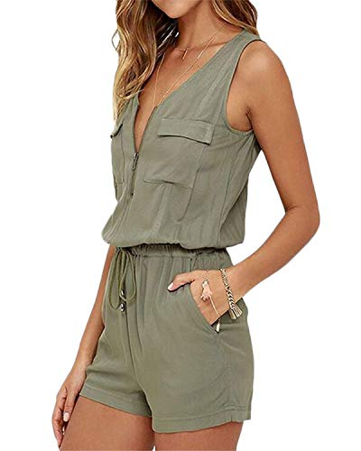 YOINS Summer Playsuit for Women Sleeveless Casual Jumpsuits Short Romper Elastic Waist Romper with Pockets