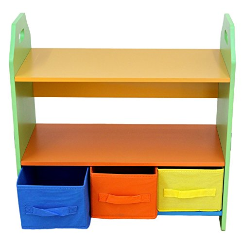 Toddler Size - Bebe Style Kids Wooden Shelves with Three Storage Boxes for Children - Crayon Themed, Colorful and Stylish, Easy to Assemble, Sturdy Material … (Green)
