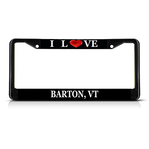 - Sign Destination Metal License Plate Frame Solid Insert I Love Heart Barton, Vt Car Auto Tag Holder - Black 2 Holes, One Frame