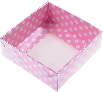 Cajas de acetato con puntos de color rosa, 9x9x3cm, 5 piezas: Amazon.es: Juguetes y juegos