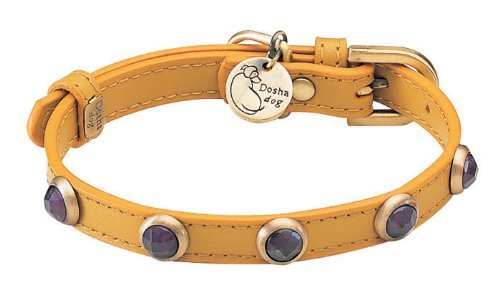 "7""-8.5"" neck, Amethyst Pebbie Yellow Leather Dog Collar - Size: XXS 1/2"" wide"