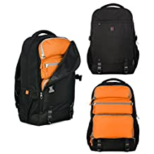 Top Power 8006 Transformable Convertible Carry-on Travel Backpack with Laptop Compartment-Black/Orange