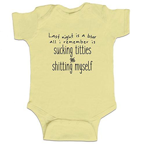 Decal Serpent Last Night Is A Blur Funny Baby Boy Bodysuit Infant - Banana Yellow - Newborn