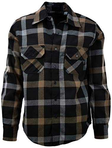 ChoiceApparel Mens Soft and Durable Button Down Flannel Long Sleeve Shirts (Many Patterns and Colors) (XL, 7-Brown)