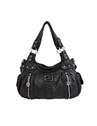 Angelkiss 2 Top Zippers Large capacity Handbags Washed Leather Purses Shoulder Bags Women AK19244/2