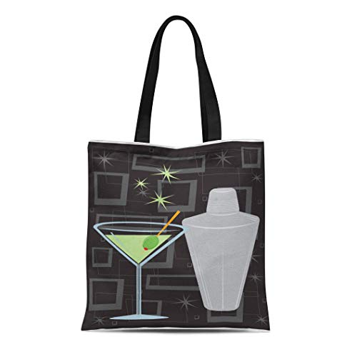 Semtomn Canvas Tote Bag Cocktail Retro Martini Shaker Over Groovy All Together Separately Durable Reusable Shopping Shoulder Grocery Bag