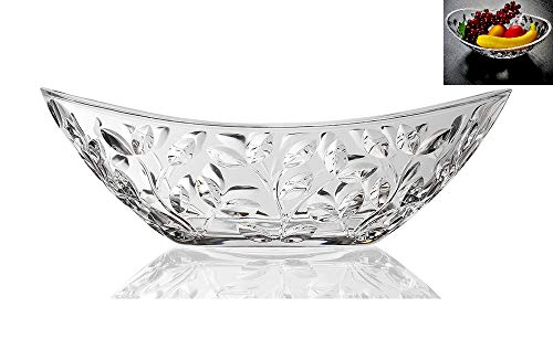 Elegant Crystal Serving Oval Bowl with Beautiful leaf design, Centerpiece For Home,Office,Wedding Decor, Fruit, Snack, Dessert, Server - Large Oval Bowl