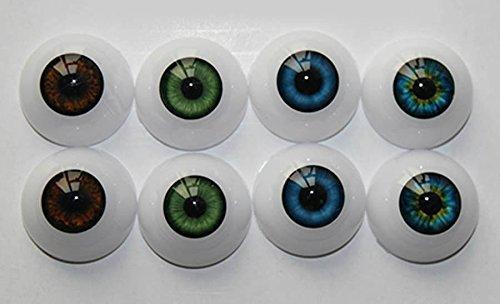 Oumeinuo 8pcs 20mm Doll Eyeball Half Round Acrylic Eyes for DIY Reborn Baby Dolls ()