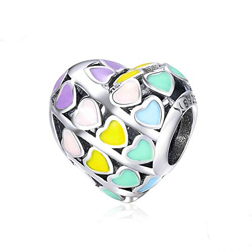 Sterling Silver Heart Bead - Beauty Heart of Rainbow Charm 925 Sterling Silver Full of Love Charm Bead for DIY Bracelet or Necklace