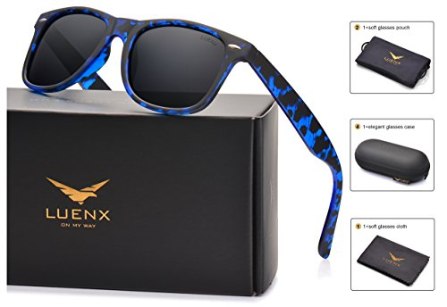 LUENX Mens Wayfarer Polarized Sunglasses for Womens UV 400 Protection Black Lens Tortiose Blue Frame 54MM,by with Case by LUENX