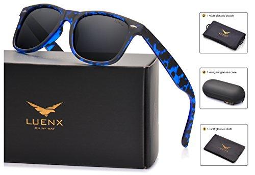 LUENX Mens Wayfarer Polarized Sunglasses for Womens UV 400 Protection Black Lens Tortiose Blue Frame 54MM with Case (Sunglasses Wayfarer Plastic)