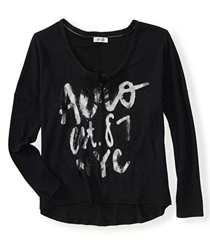 Aeropostale Womens Aero Est. 87 NYC Thermal Sweater, Black, Medium ()