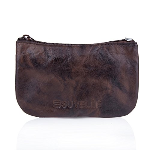 Genuine Zippered Leather Wallet (Suvelle Men's Genuine Leather Zippered Coin Pouch Change Purse Key Holder Wallet WP470)