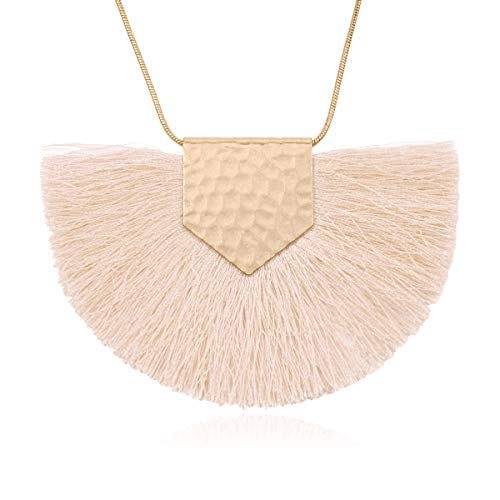 RIAH FASHION Antique Bohemian Silky Thread Fan Tassel Statement Necklace - Vintage Gold Feather Shape Strand Fringe Lightweight Long Chain (Necklace Half Moon Tassel - Natural)