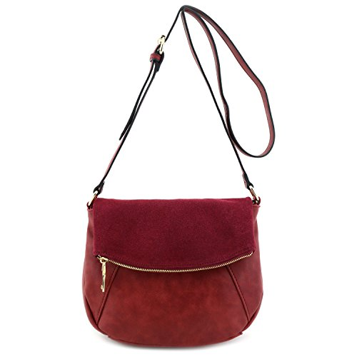 (Faux Calfskin Leather Crossbody Bag with Suede Flap Burgundy)