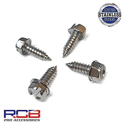 Four (4) Chrome License Plate Screws - Stainless Steel Fasteners for Securing License Plates, Frames, and Covers on Domestic Cars and Trucks That Use Nylon Screw Insert Retainers (Chrome Plated): Automotive