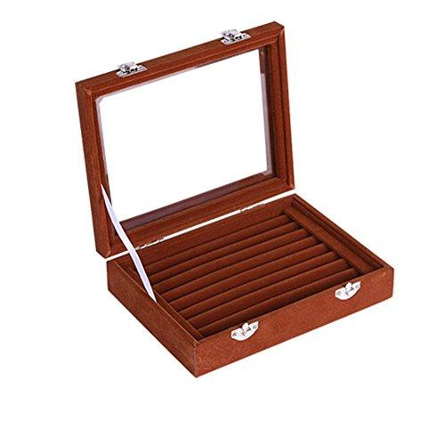 Meshela Neu Damen-Schmuckkasten Schmuck Box Schmuck Organizer Display Aufbewahrungsbox für Ringe Ohrringe Halskette (Braun)