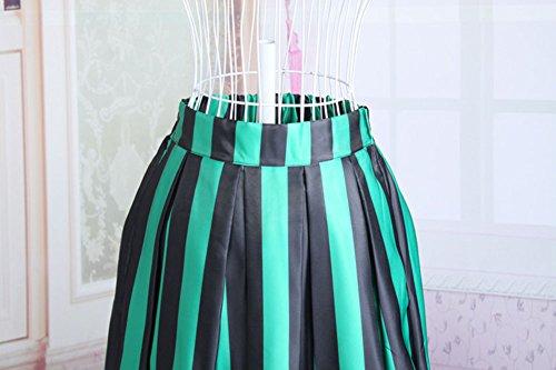 Moollyfox mujer de la raya del color Pretina Elástico Plisada De La Falda De Midi Abocardada Ocasional Verde Verde