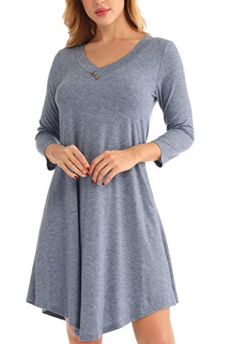 LEORAY Women's Pockets 3/4 Sleeve V Neck Casual Loose T-Shirt Dress