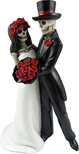 DWK - Amor Por Vida - Collectible Hand-Painted Day of The Dead Dancing Skeleton Couple Halloween Gothic Lovers Romantic Bride & Groom Figurine Wedding Statuette, 6.5-inch (Los De Dia Muertos Bride)