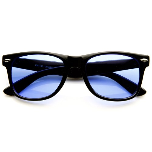 zeroUV - Rare Color Tinted Lens Classic Horn Rimmed Sunglasses (Blue) (Blue Lens)